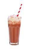 Chocolate milk shake with whipped cream. Isolated on white background Royalty Free Stock Photo