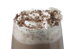 Chocolate milk shake with whipped cream. And chocolate sprinkles royalty free stock image
