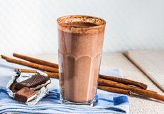 Chocolate milk smoothie with banana, peanut butter and cinnamon Stock Image