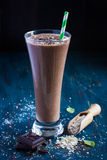 Chocolate milk smothie with oat flakes Stock Photo