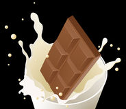 Chocolate in milk splash on black background Royalty Free Stock Photos