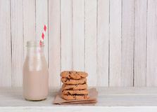 Chocolate Milk Stack Cookies Stock Photo