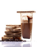 Chocolate milk and wafers Stock Photos