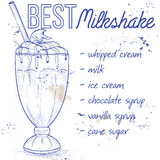 Chocolate milkshake recipe on a notebook page. Vector illustration Royalty Free Stock Images