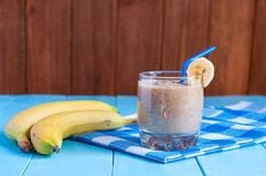 Chocolate milkshake smoothie in glass on light Stock Photography