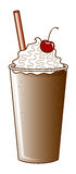 Chocolate Milkshake with Straw Stock Photo