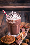 Chocolate milkshake with whipped cream Royalty Free Stock Photography