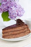 Chocolate Mille crepes. Chocolate Mille crepe on a plate Stock Photo