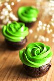 Chocolate mini cupcake with cream cheese green frosting. Chocolate mini cupcake with cream cheese frosting colored in green and powdered on a wooden board with Royalty Free Stock Images