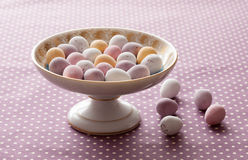 Chocolate mini eggs in a bowl Royalty Free Stock Images