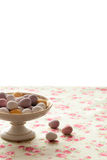 Chocolate mini eggs in a bowl. Easter chocolate mini eggs in a pretty antique china bowl royalty free stock photography