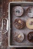 Chocolate  Mini Tartlets in vintage aluminium baking pan Royalty Free Stock Image