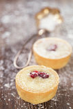 Chocolate  Mini Tartlets  on vintage wooden table Royalty Free Stock Photo