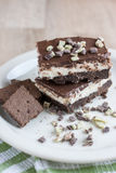 Chocolate Mint Bars. On a white plate and wooden table Stock Images