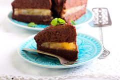 Chocolate and mint cake Royalty Free Stock Image
