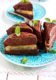 Chocolate and mint cake with pear filling Royalty Free Stock Photo