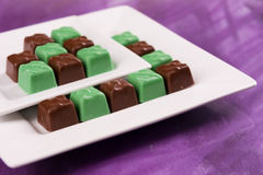 Chocolate and Mint Candy. Squares in Patterned Rows Royalty Free Stock Photo