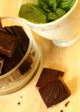 Chocolate and mint Royalty Free Stock Photography