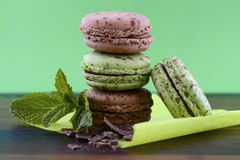 Chocolate and mint flavor macaroons Stock Photography
