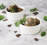 Chocolate mint ice cream in white bowls with pieces of chocolate and mint leaves on a marble table Royalty Free Stock Photo