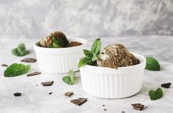 Chocolate mint ice cream in white bowls with pieces of chocolate and mint leaves on a marble table Stock Photo
