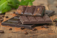 Chocolate with mint leaf Royalty Free Stock Image