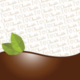 Chocolate and mint leaves border. Isolated on i love chocolate wallpaper background Royalty Free Stock Images