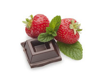 Chocolate, mint and strawberries Stock Photos