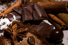 Chocolate mix and spices Royalty Free Stock Images
