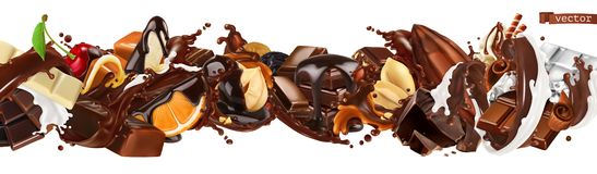 Free Chocolate Mix. Splashes With Fruits, Nuts, Caramel And Milk Chocolate. 3d Vector Realistic Set Stock Photos - 159188703