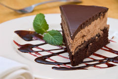 Chocolate mocha mousse cake Stock Photos