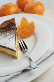 Chocolate mocha and orange cheesecake with dessert fork. An angle view of a slice of chocolate mocha and orange cheesecake. Table setting with dessert fork and Stock Images