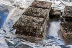 Chocolate mohoso en el empaquetado original Produc anticuado de la comida fotografía de archivo