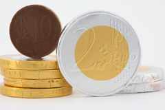 Chocolate Money. Coins focusing on two euro and ten cents coin Royalty Free Stock Image