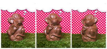 Chocolate monkey on the grass Stock Photos