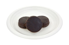 Chocolate moon pies on paper plate Royalty Free Stock Photography