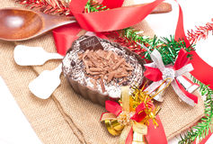 Chocolate Moose Dessert Decorating With Accessories. Stock Photo
