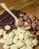 Chocolate morsels pile in spoon Stock Photo