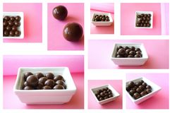 Chocolate mosaic. Delicious chocolate isolated on pink background - mosaic image stock images