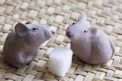Chocolate mouse. And sugar cube royalty free stock images