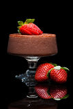 Chocolate mousee dessert with strawberries Stock Image