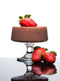 Chocolate mousee dessert with strawberries Stock Photos