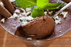 Chocolate mousse. Dessert on dining table Stock Photography