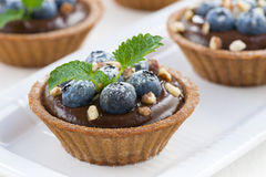 Chocolate mousse with blueberries and mint in tartlets, close-up Stock Photos