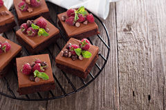 Chocolate mousse brownies with raspberry Royalty Free Stock Images