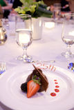 Chocolate mousse cake at Banquet. Chocolate mousse cake at a banquet  celebrating a 25th anniversary Royalty Free Stock Photos
