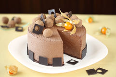 Chocolate Mousse Cake with chocolate truffles Stock Image