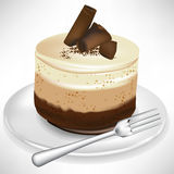 Chocolate mousse cake on plate with fork Royalty Free Stock Image
