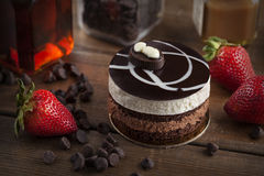 Chocolate mousse cake with strawberry Royalty Free Stock Photography