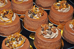 Chocolate mousse cakes. On display at the bakery Royalty Free Stock Photography